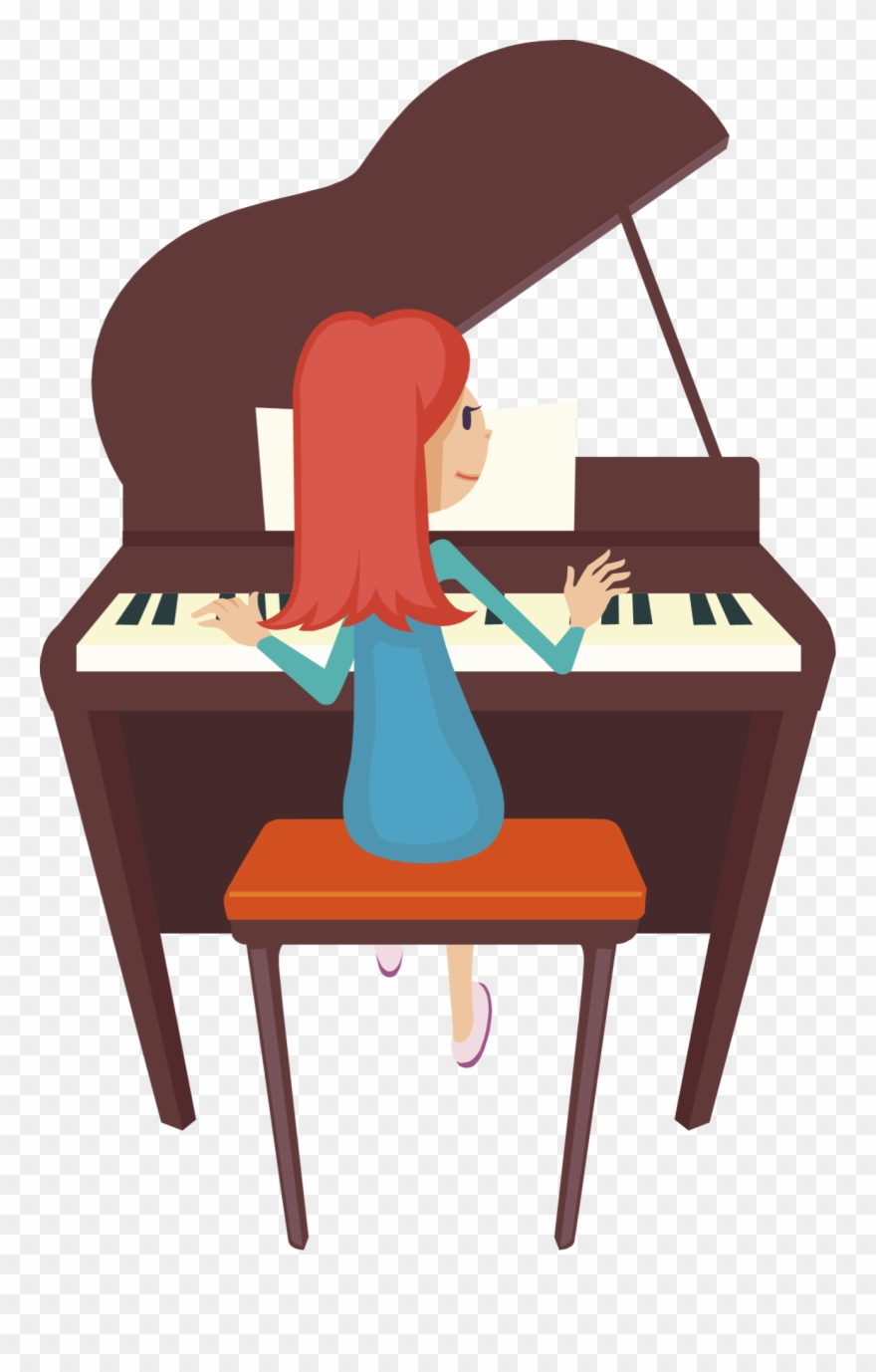 Cartoon girl playing png. Piano clipart two