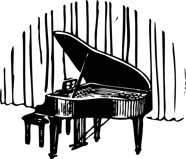 Piano clipart piano guitar. In front of curtain