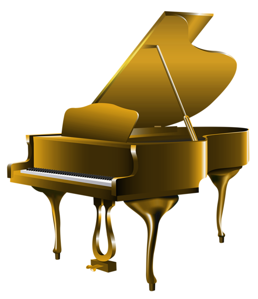 Piano clipart piano guitar. Transparent gold png clip
