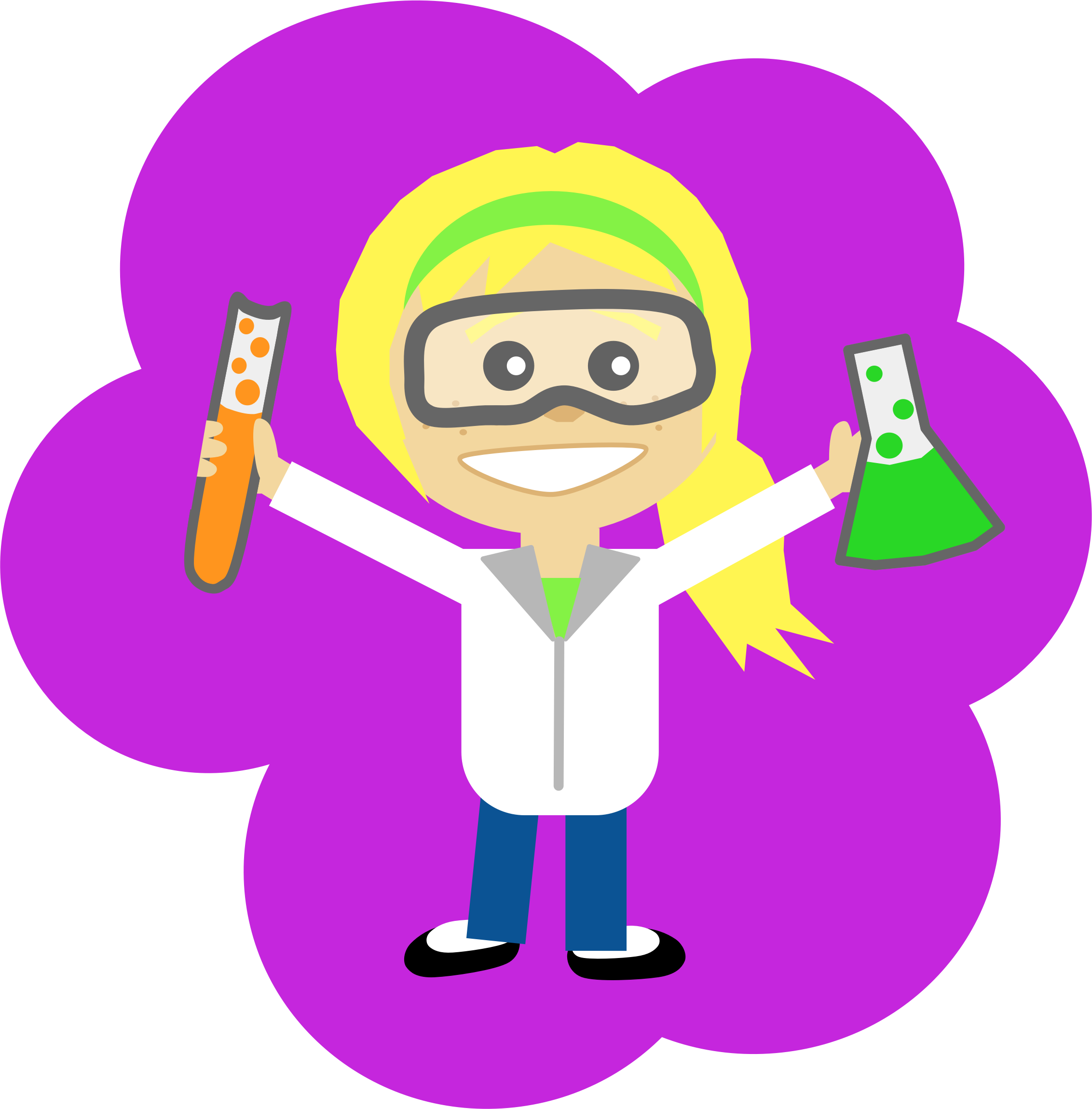 Girls clipart ponytail. Science girl with big
