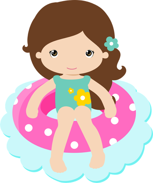 Praia piscina pool party. Girls clipart planner