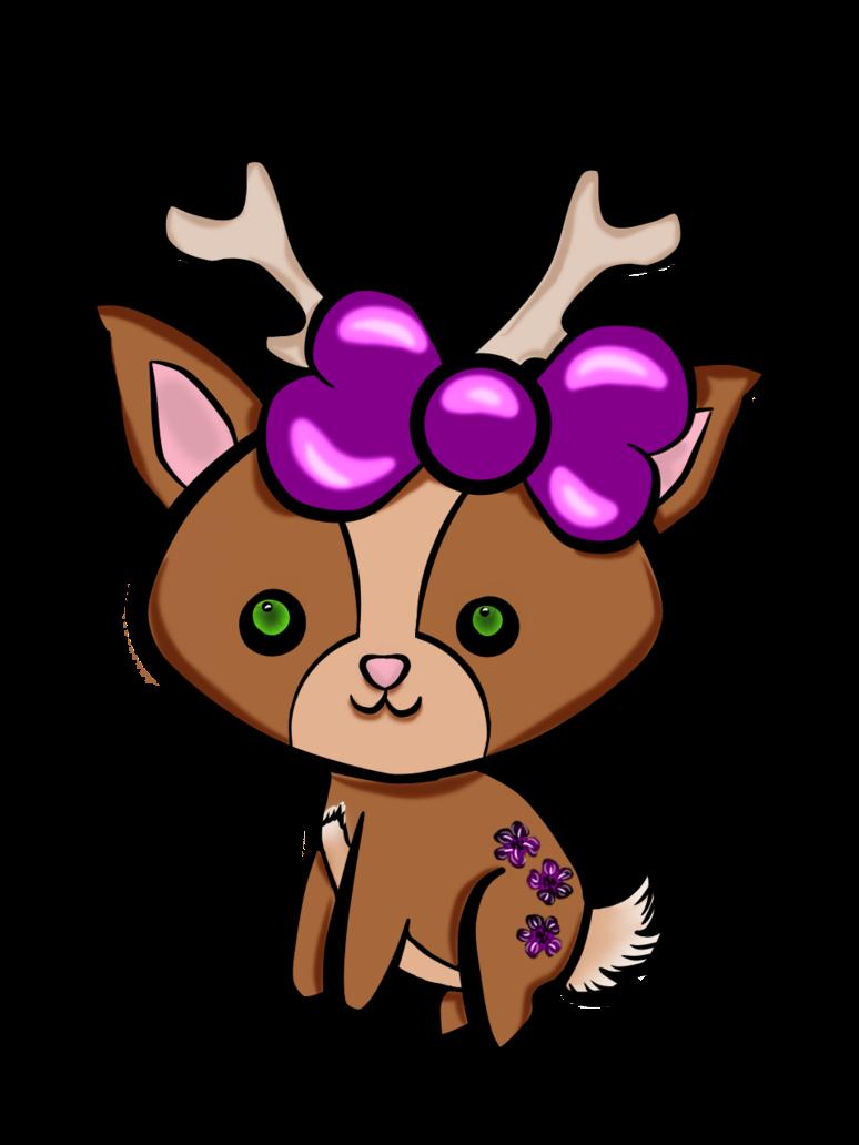 Kawaii girl reindeer colored. Crochet clipart colorful