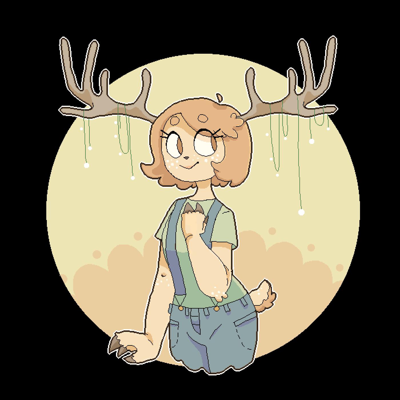 Pixilart girl by keso. Deer clipart profile