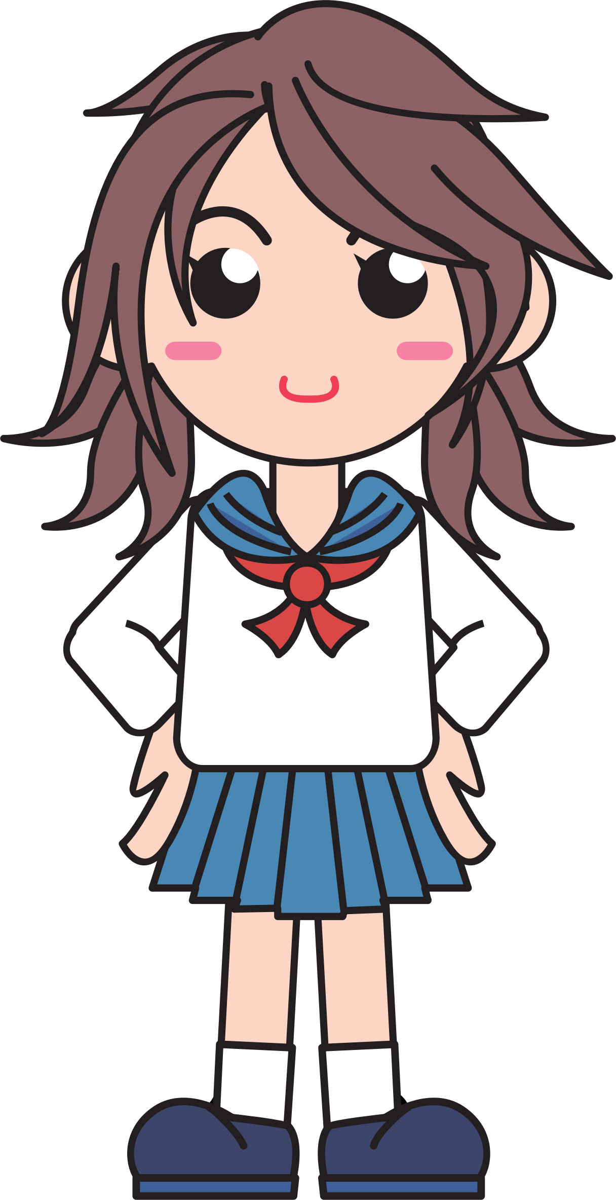 Driver clipart animated. Japanese school girl big