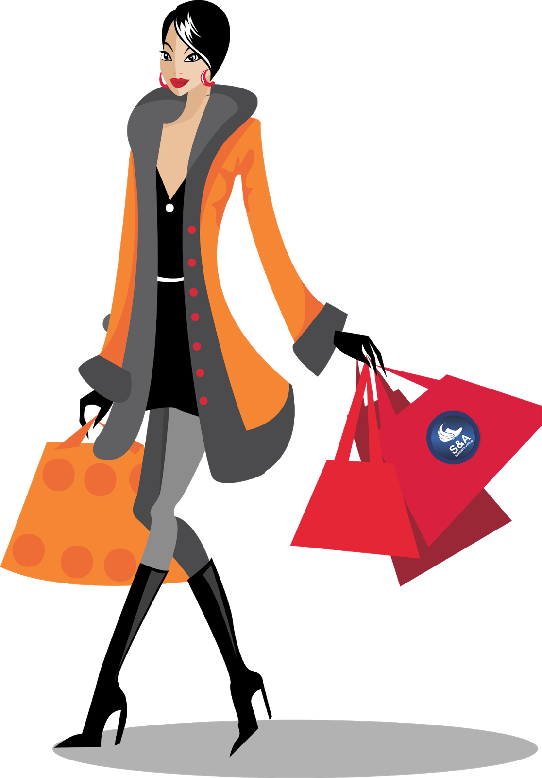 Female clipart shopping.  collection of girl