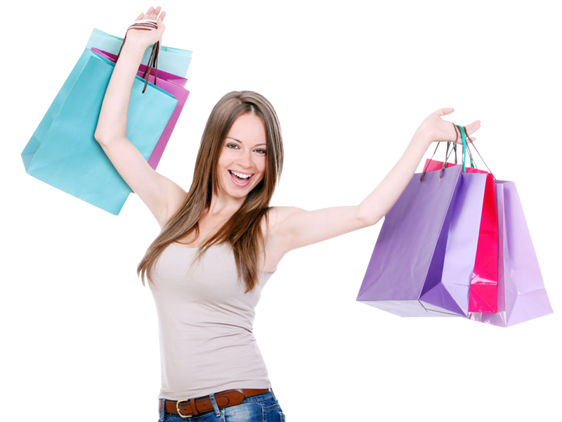 Girl with bags png. Female clipart shopping