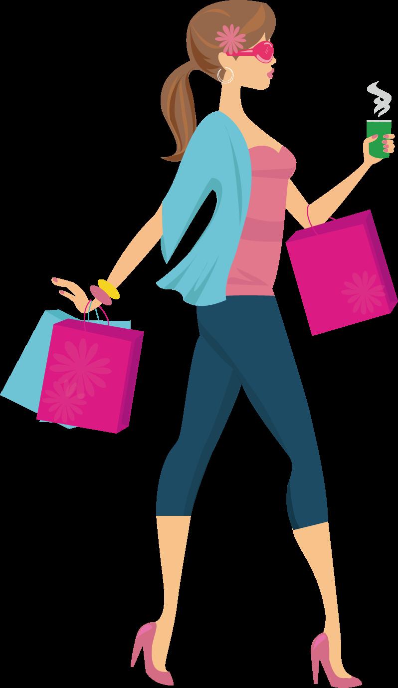 Fashion clipart popular girl. Shopping woman clip art