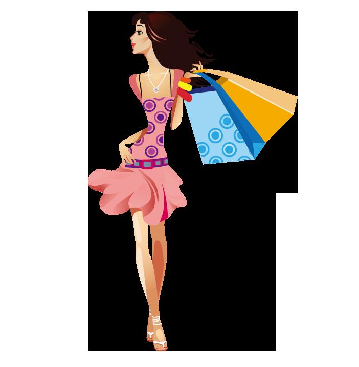 Fashion clipart style. Shopping girl woman clip