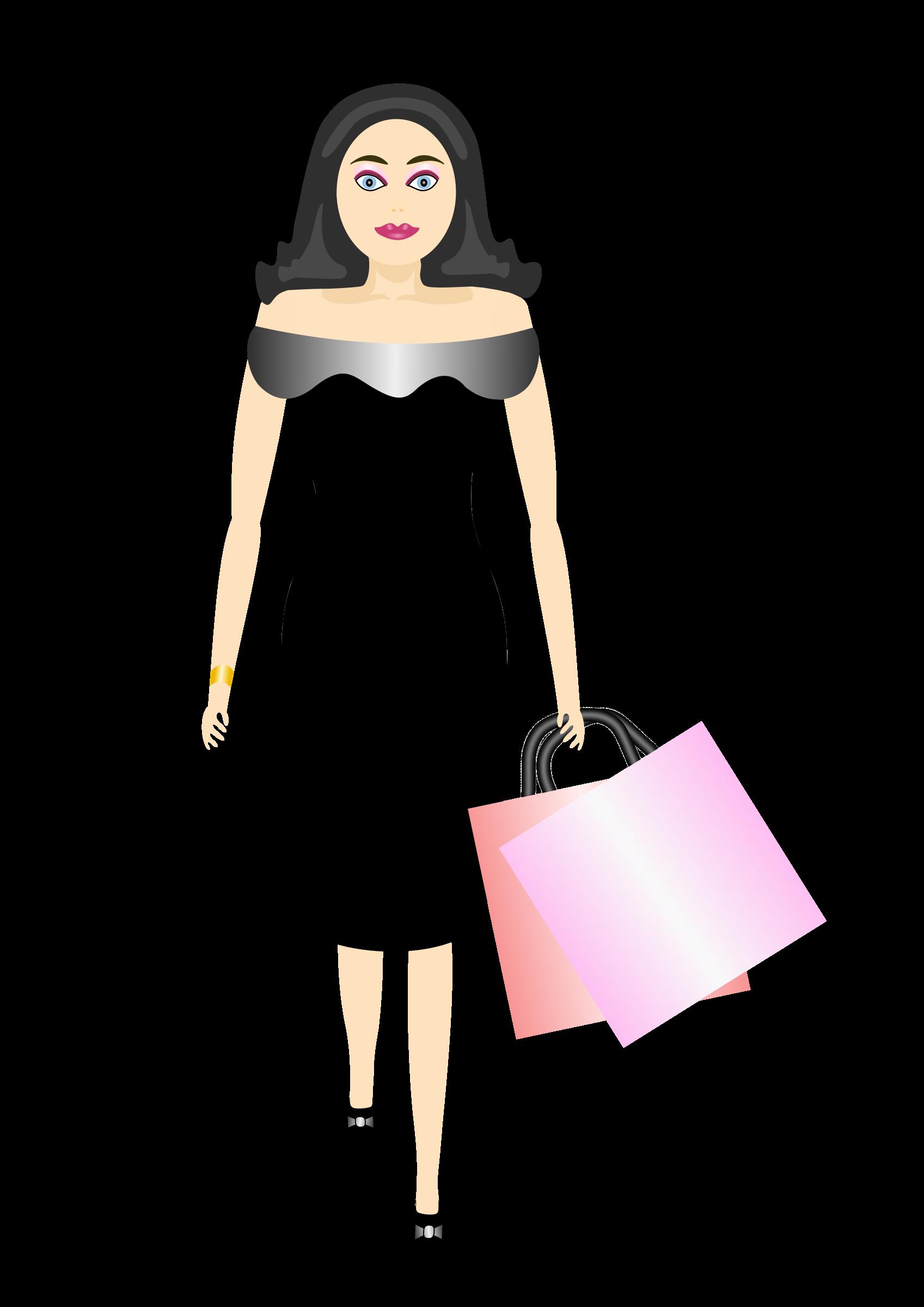 Fashion clipart shopper. Glamour girl shopping big