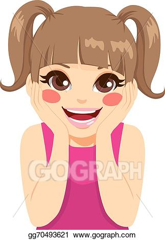 Vector art surprised drawing. Surprise clipart little girl