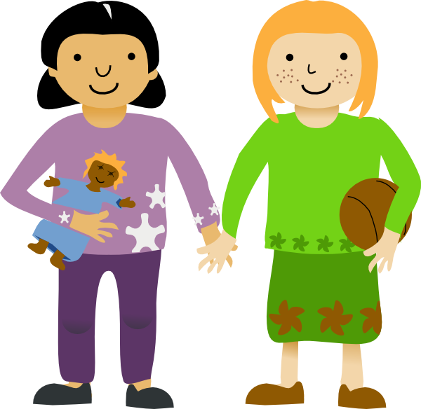 Girls clip art at. Friendly clipart two little