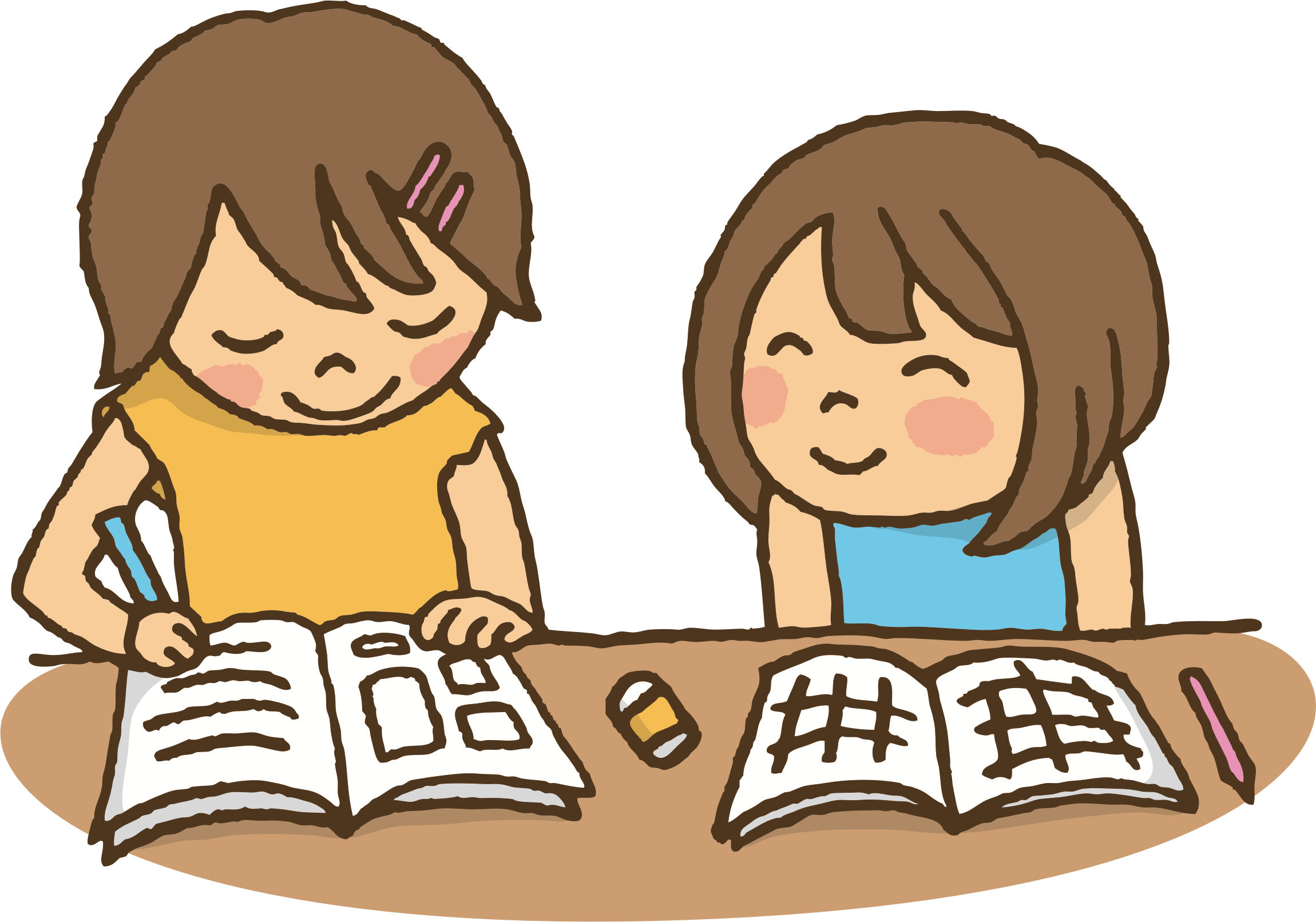 Studying together big image. Working clipart one student