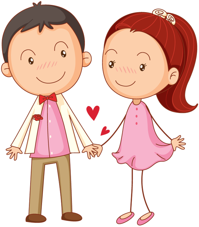 Portfolio designshop cartoon couple. Clipart girl tourism