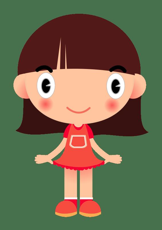 Cartoon dress transparent png. Friendly clipart friendly girl