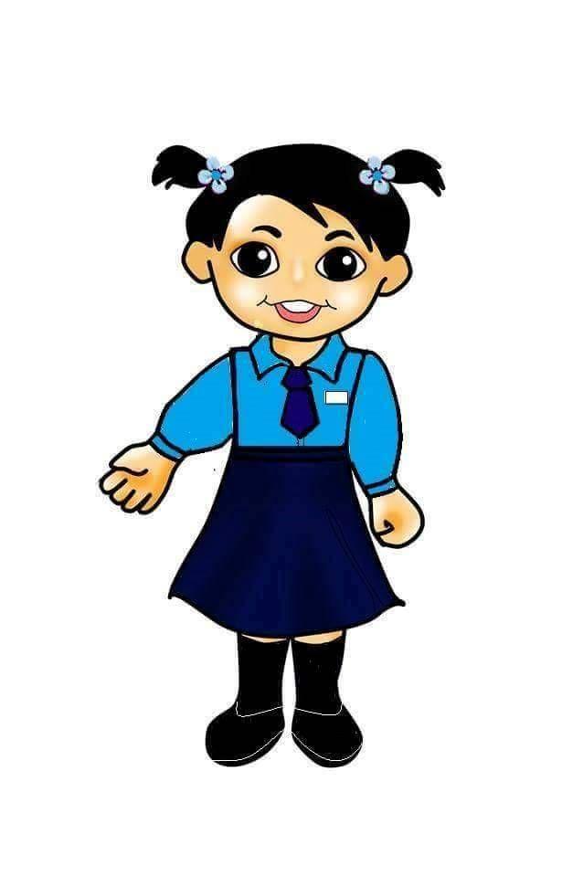 With school doodle clip. Girl clipart uniform