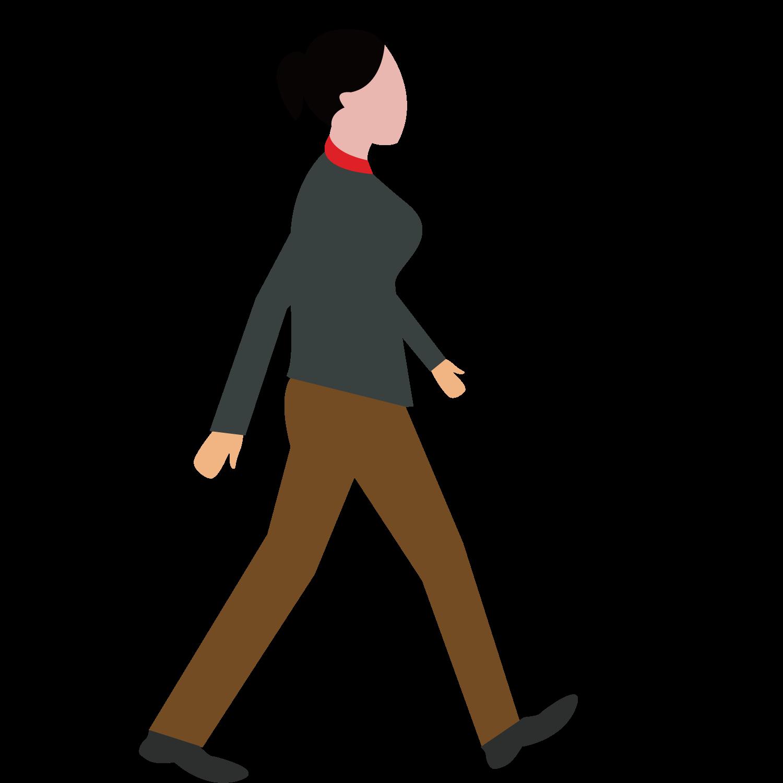 Clipart walking female walking. Woman transprent png free