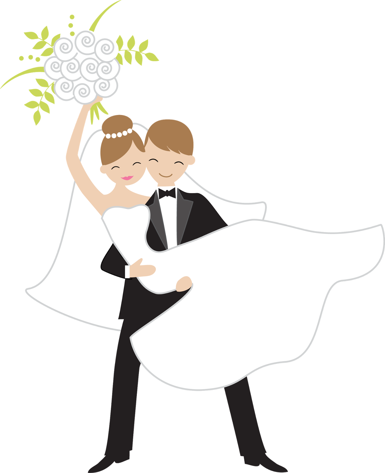 Bride throwing the bouquet. Clipart wedding person