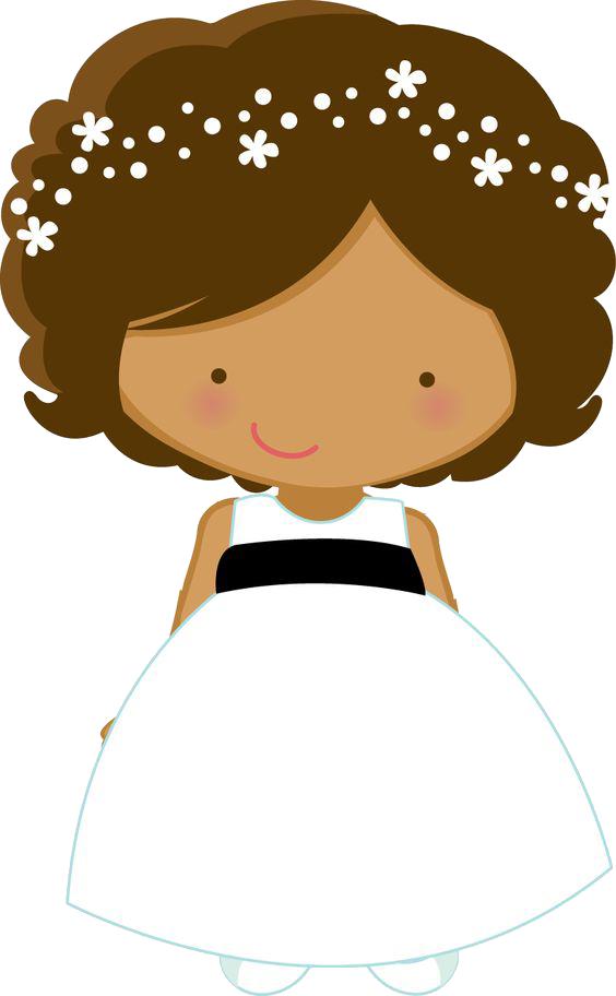 Girls clipart brown hair. Flower girl wedding bride