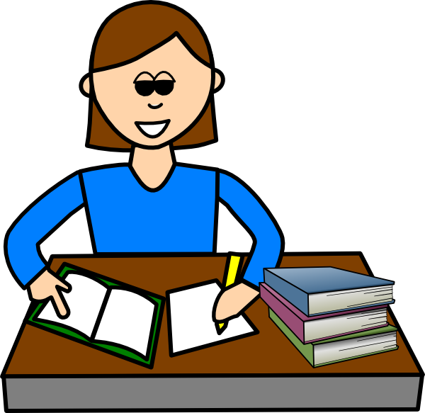 Girl writing in diary. Handwriting clipart study
