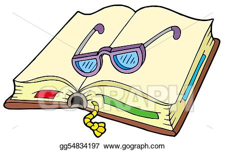 Stock illustration open with. Glasses clipart book