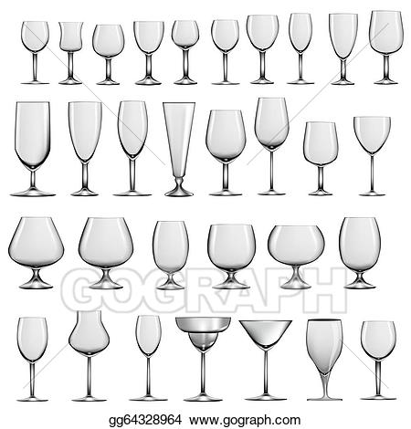 Clipart glasses empty glass. Vector stock set of