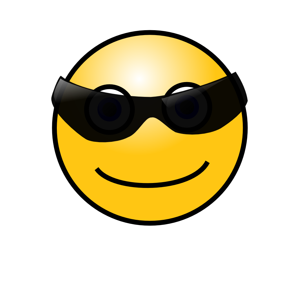 Smiley face with nerd. Square clipart cool
