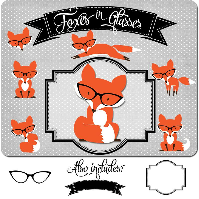 Clipart glasses fox. Clip art foxes in