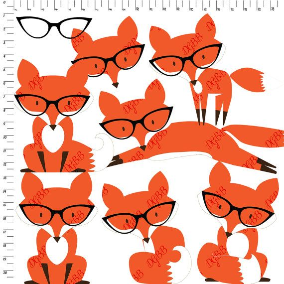 Foxes in digital instant. Clipart glasses fox