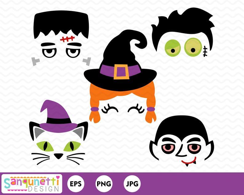 Clipart glasses halloween. Faces frankenstein witch digital