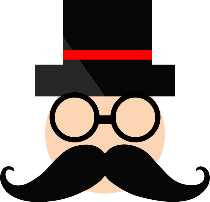 Clipart glasses mustache. Man in top hat
