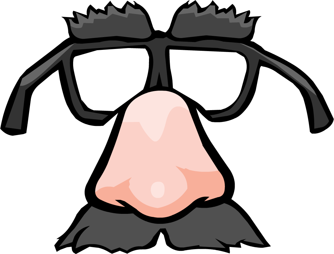 Funny face club penguin. Glasses clipart pink