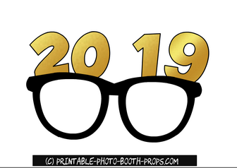 Clipart glasses new year. Free printable photo booth