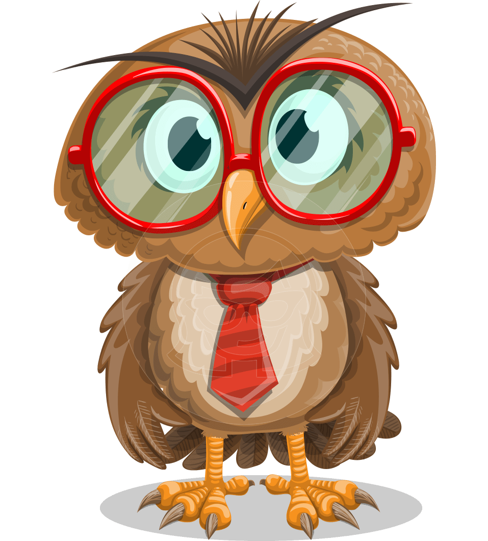 Vector with cartoon character. Clipart glasses owl