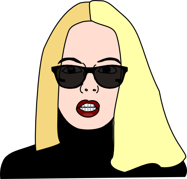 Blonde haired women wearing. Clipart sunglasses purple
