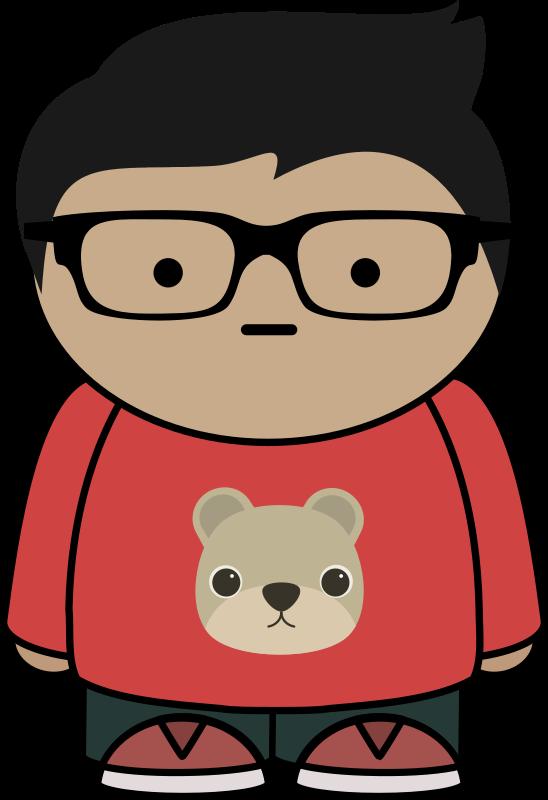 Boy with glasses medium. Pink clipart eyeglasses