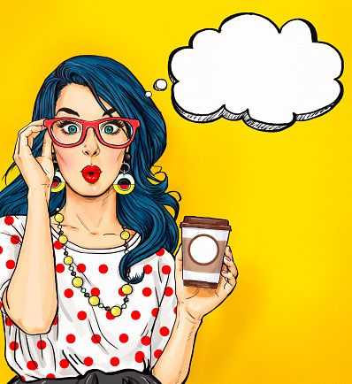 Clipart glasses pop. Art girl with coffee