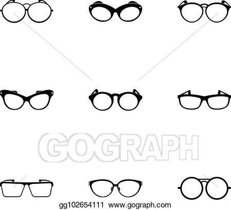 Vector illustration safety icons. Clipart glasses simple