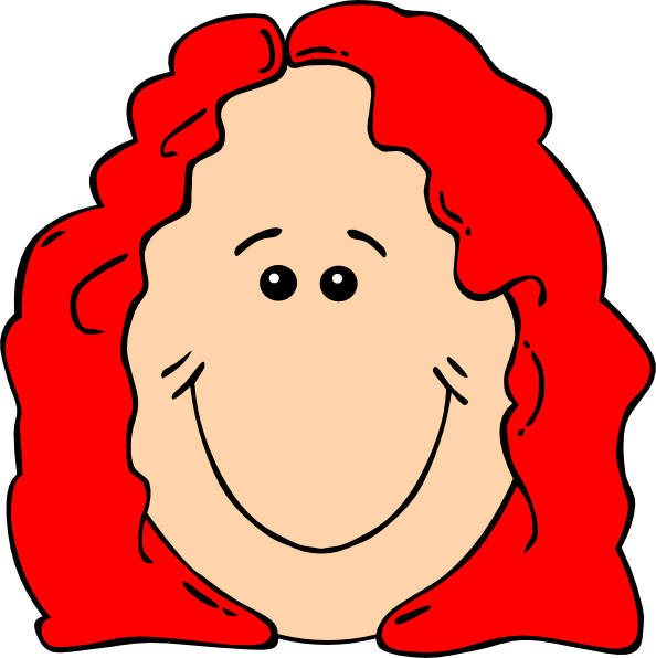 Red female cartoon face. Nose clipart nose hair