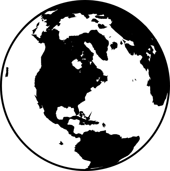 Black white collection world. Globe clipart simple