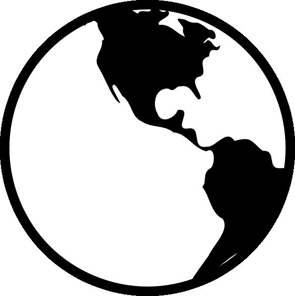 Globe clipart black and white. Simple earth clip art