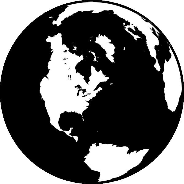 Globe clipart globe world. Black and white clip