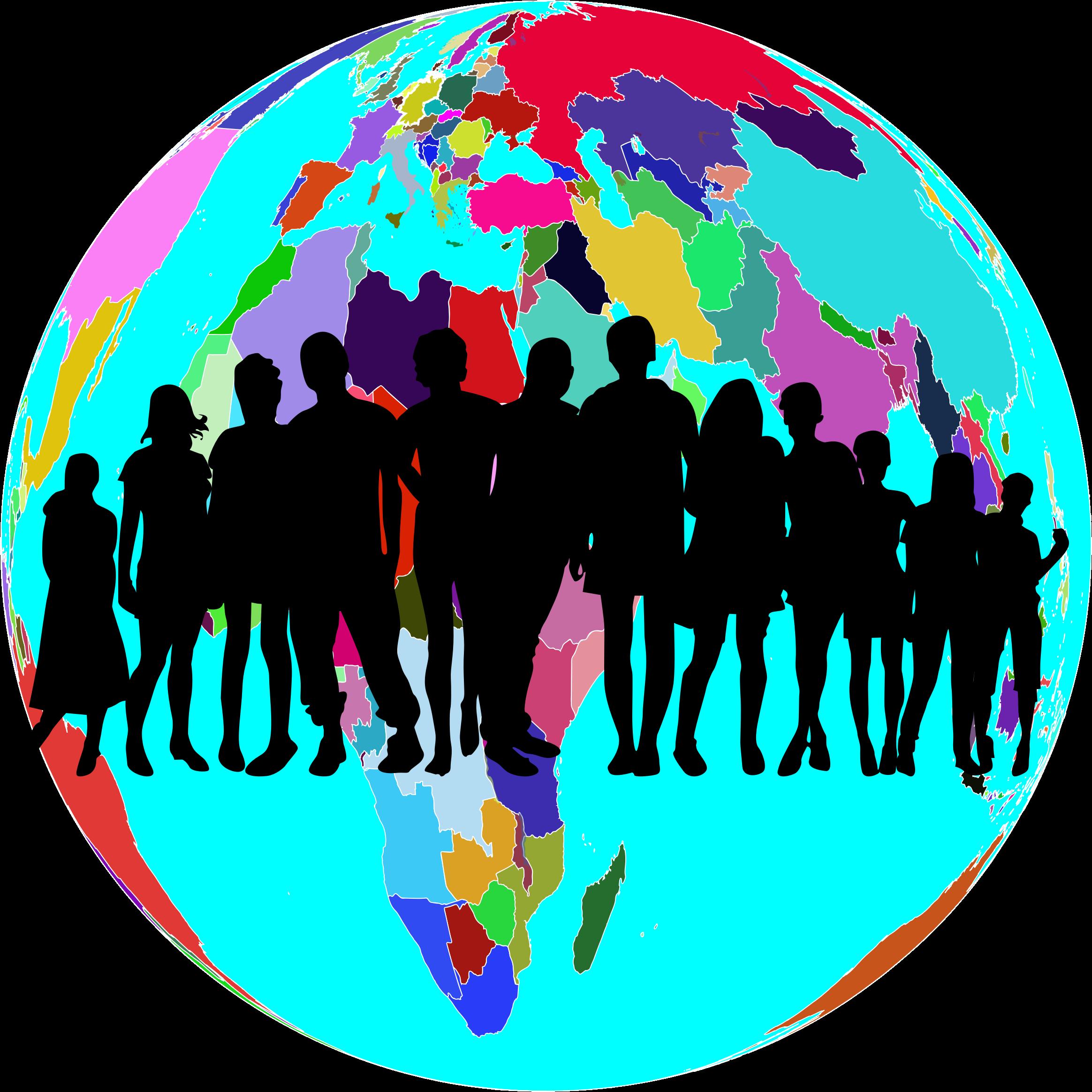 Clipart world globle. Colorful globe human family
