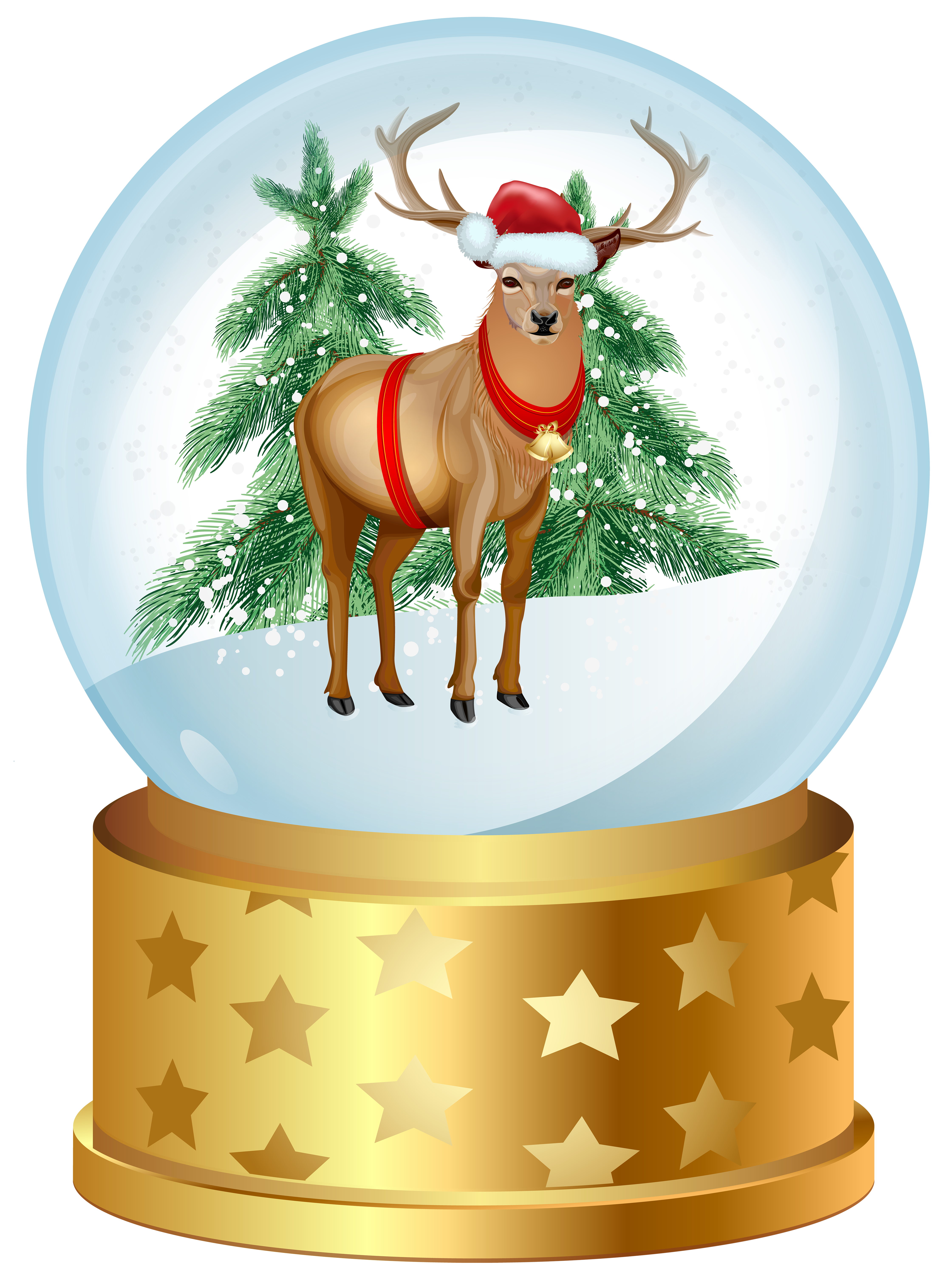 Deer clipart love. Christmas snow globe png
