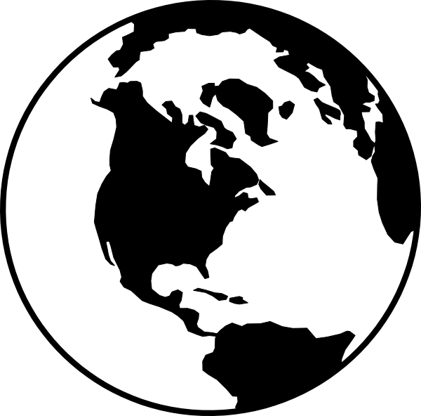 Planet clipart cute. World globe b w
