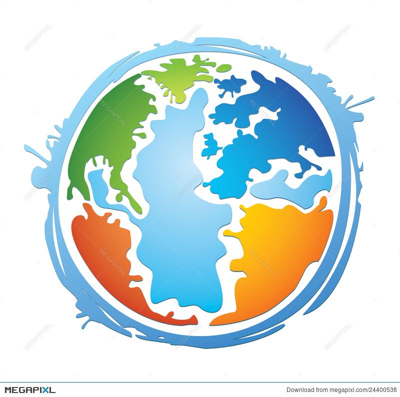 Colorful world illustration megapixl. Clipart globe colourful