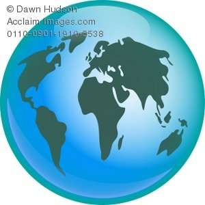 Clipart globe colourful. Illustration of a blue