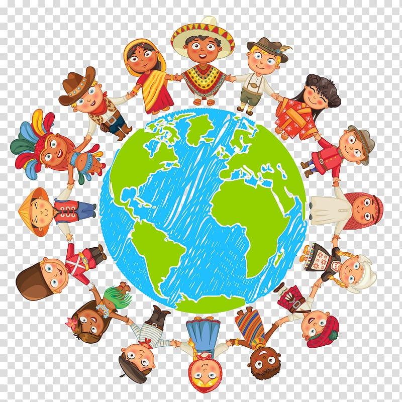 People holding hands around. Globe clipart culture