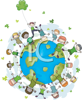 Earth day kids on. Clipart globe dancing