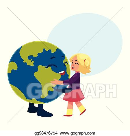 Clipart globe dancing. Vector art girl with