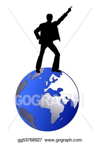 Stock illustration man on. Clipart globe dancing
